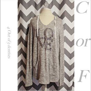 Chance or Fate Love XL Grey Hooded Sweater